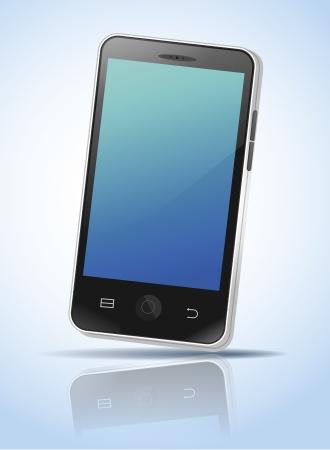 �cran tactile: Image illustr�e d'un t�l�phone mobile � �cran tactile Illustration