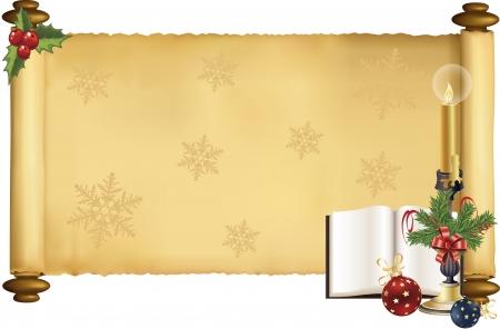 크리스마스 디자인과 스크롤의 벡터 일러스트 레이션