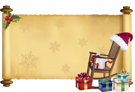 Vector illustratie van scroll met kerst motief