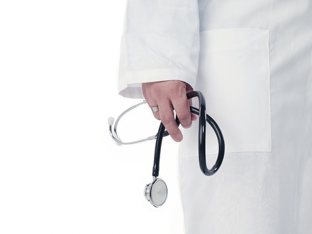 Cropped image of a doctor holding stethoscope over white background. Model: Derek Gerhardt Stock Photo - 15543253