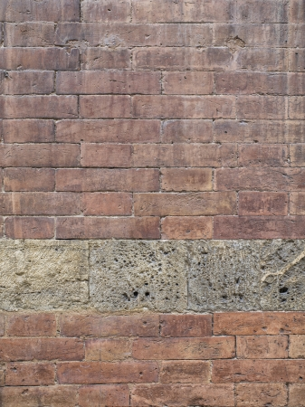 detailed shot: Detailed shot of a brick wall in a vertical image. Stock Photo