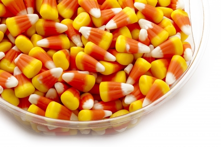 rubbery: Candy corn as a halloween give away treat.