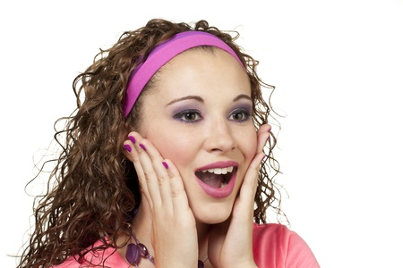 lady in pink looks surprised. Makeup by Irene Prowell - professional freelance makeup artist. Stock Photo - 15600291