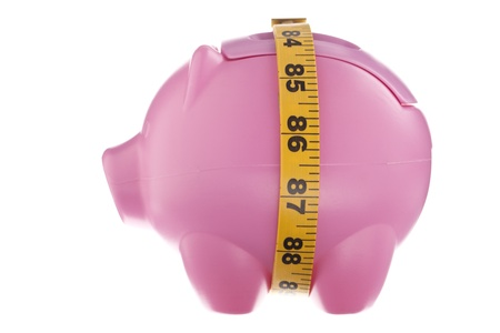 meter box: Illustration of a piggy Bank with Squeezed Savings