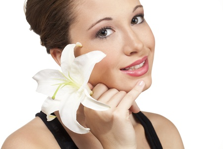 Elegant orchid in the hair of this teen model. Stock Photo - 15600289