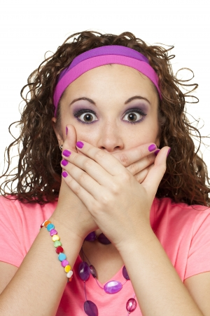 Young lady in retro fashion act surprised and put hands over her mouth. Makeup by Irene Prowell - professional freelance makeup artist. Stock Photo - 15600295