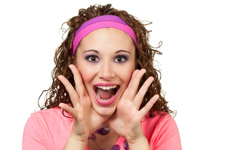 Girl in retro pink garb shouts directly infront of her  Makeup by Irene Prowell - professional freelance makeup artist Stock Photo - 15615820