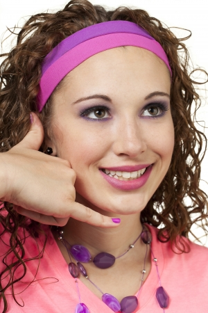 Girl in retro fashion smiles and gestures  Makeup by Irene Prowell - professional freelance makeup artist  Stock Photo - 15615825