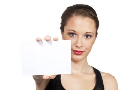 Blank white card is held up for designers to add in creative text message  Stock Photo - 15615818
