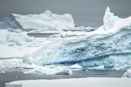 Frosting iceberg in the Antarctic ocean