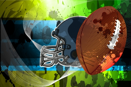 Abstract American football with ball and helmet as background