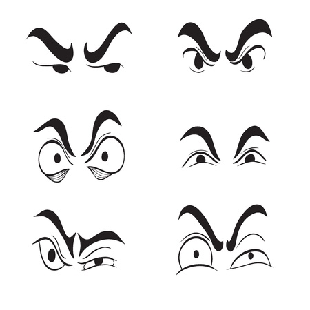 angry look: Clip art illustration of Angry Cartoon Eyes set