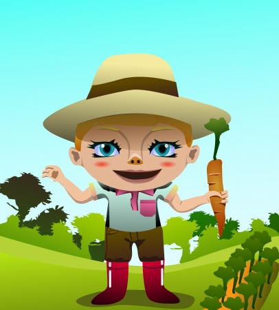 Vector image of a cute happy girl holding carrot in the farm  photo
