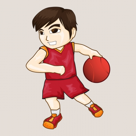 Vector illustration of boy playing basketball  illustration