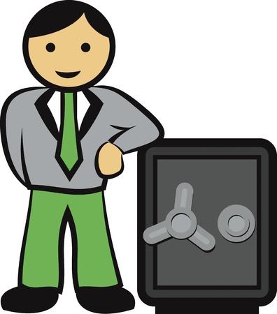 Businessman guarding a safe vault vector image