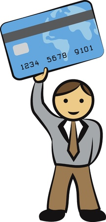 Illustration of a businessman lifting up his credit card on a vector image