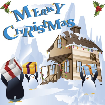 Clip-art of cute penguins on snow holding Christmas gifts photo