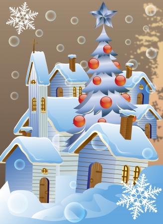 Vector illustratie van Kerstmis poster met de winter huizen Stockfoto