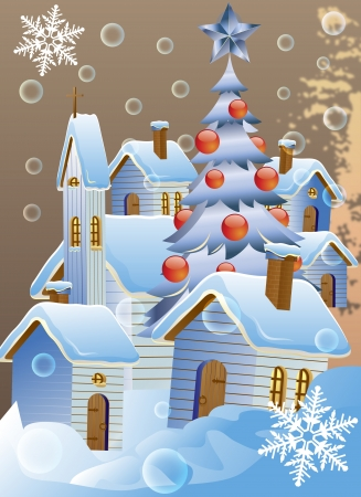 Vector illustration of Christmas poster with winter houses