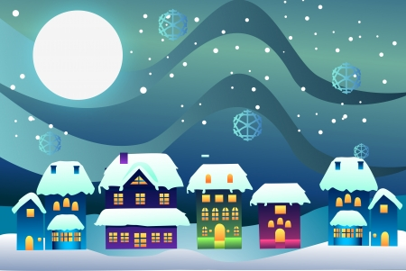Vector illustration of christmas time in a village Stok Fotoğraf