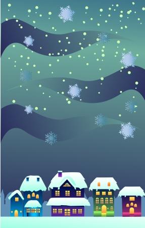 nuit hiver: Nuit d'hiver au cours de No�l dans une ville clip-art l'image Banque d'images