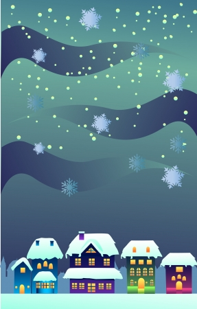 Winter night during christmas in a town clip-art image photo