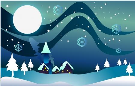 Christmas village during night clip-art photo
