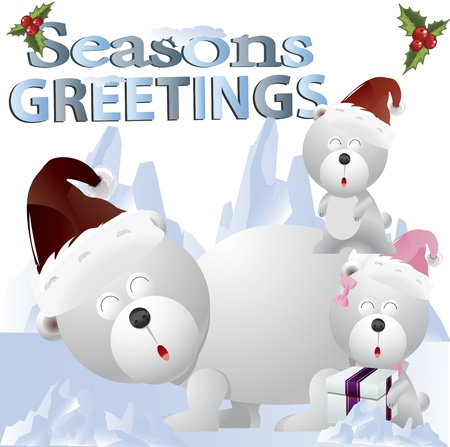 Clip art image of a Christmas bears on snow Stock Photo - 15616909