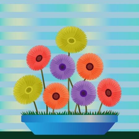 Clip Art illustratie van kleurrijke diasies