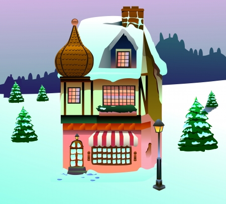 Clip art image of a house on snow forest  photo