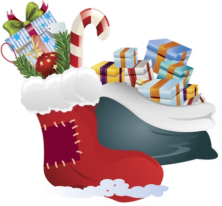 festive occasions: Clip art image of a sock and sack with Christmas gifts