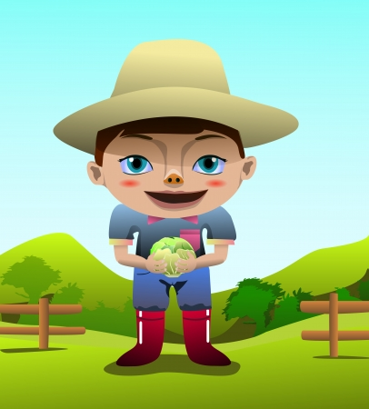 Clip art image of a cute kid farmer holding a cabbage photo