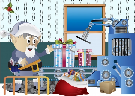 Clip art image of Christmas elf making gifts on the factory photo