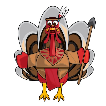 Clip art image of Indian turkey on a white background