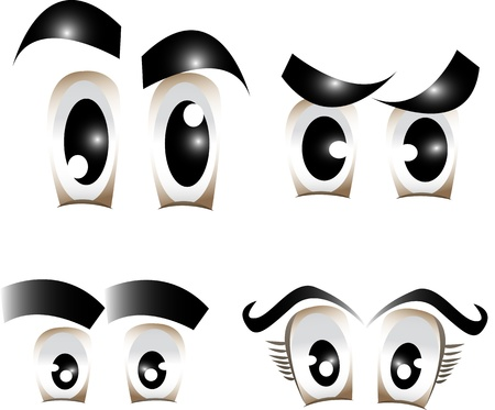 human eye: Vector set of different comic eyes