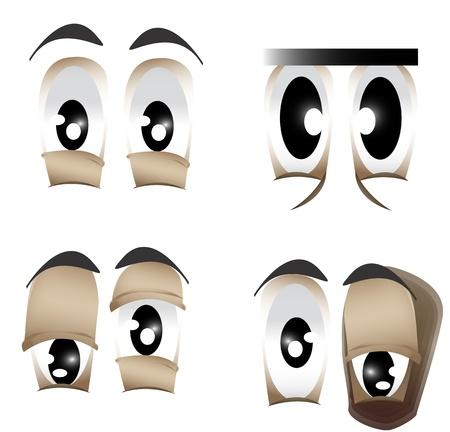 Vector illustration of the different shape of eyes
