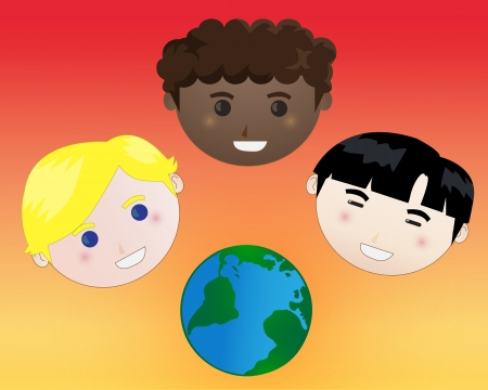 Vector illustration of happy diverse children with globe Stock Illustration - 15606950