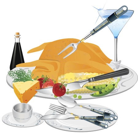 fine dining: Fine dining vector with creatively served turkey and wine