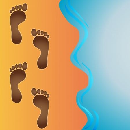 Vector footprints in beach sand  版權商用圖片