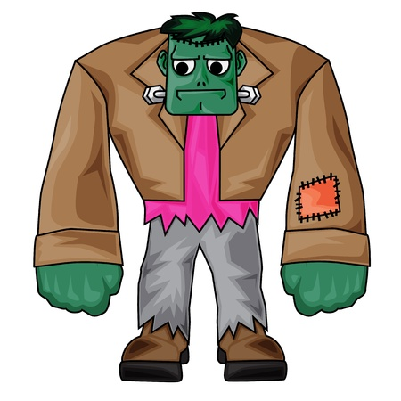 dumb: Cartoon Frankenstein with white background for Halloween clip-art