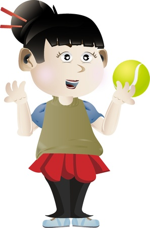 Vector illustration of girl holding tennis ball Stock Illustration - 15616913