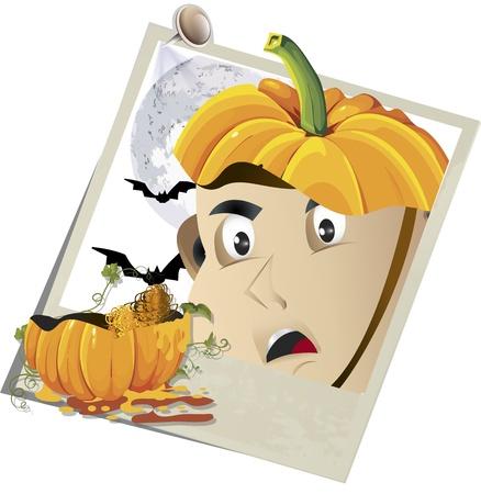 Vector illustration of a Halloween pumpkin snapshot