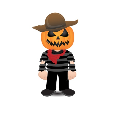 Vector Halloween scarecrow over a white background photo