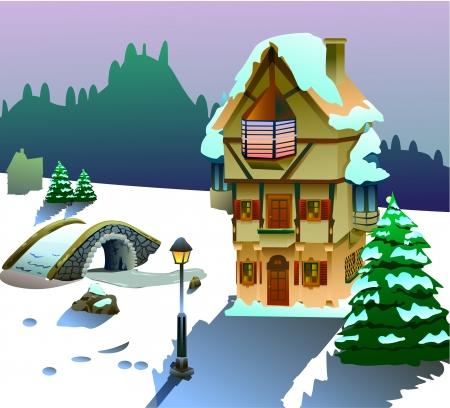 Vector illustration of house on Christmas season Stok Fotoğraf