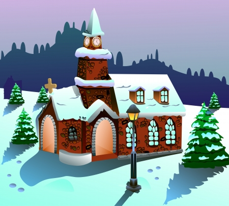 Vector illustration of a house on snow illustration