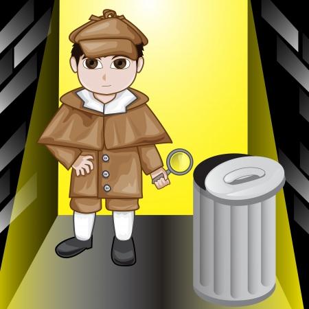 Vector illustration of inspector kid