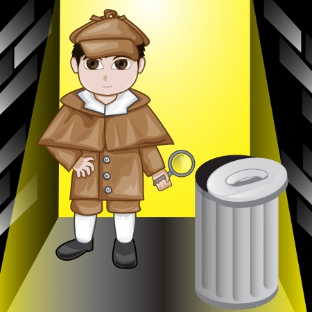 Vector illustration of inspector kid  illustration