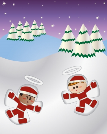 Vector illustration of kids playing and making snow angel Stock Illustration - 15616863