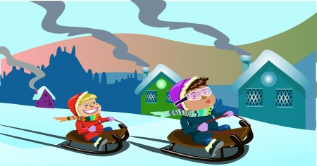 sledding: Christmas clip-art with two kids playing on a sledge