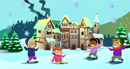Vector illustration of kids playing on the snow